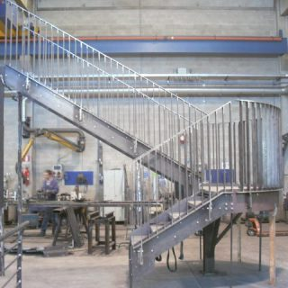 Emergency exit staircase with circular railing